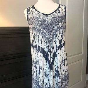 Blue and white sleeveless beach coverup or tunic